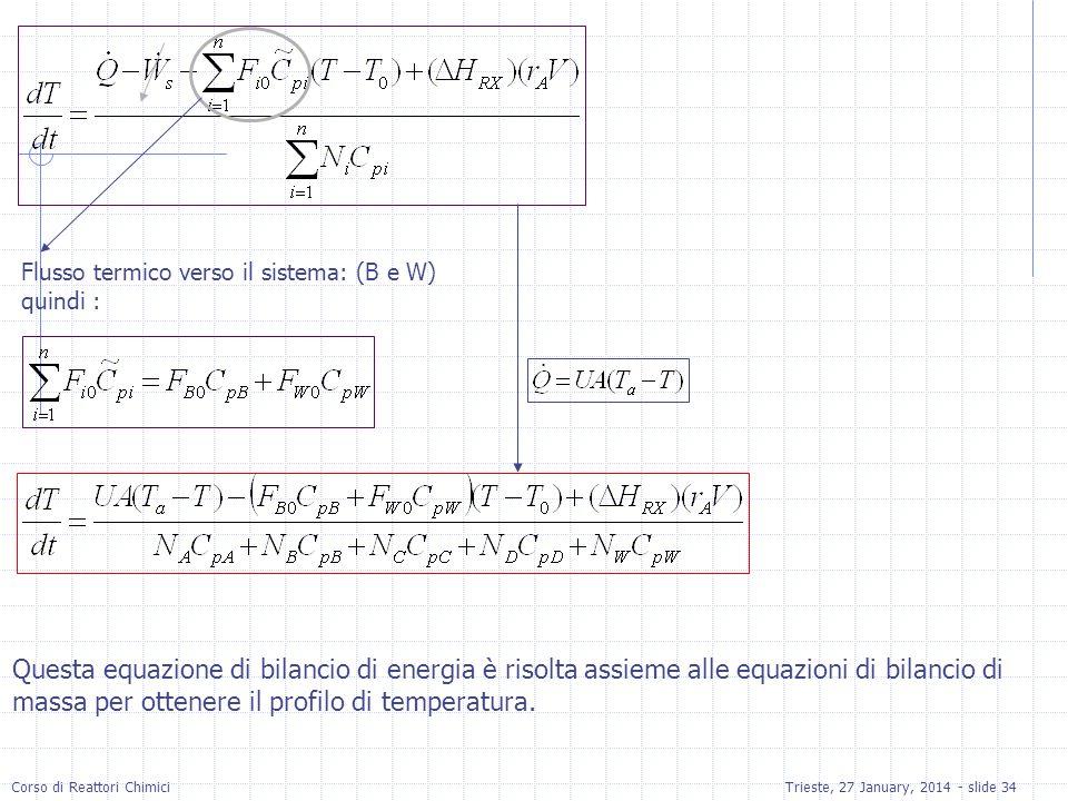 Corso di Reattori ChimiciTrieste, 27 January, 2014 - slide 34 Flusso termico verso il sistema: (B e W) quindi : Questa equazione di bilancio di energia è risolta assieme alle equazioni di bilancio di massa per ottenere il profilo di temperatura.