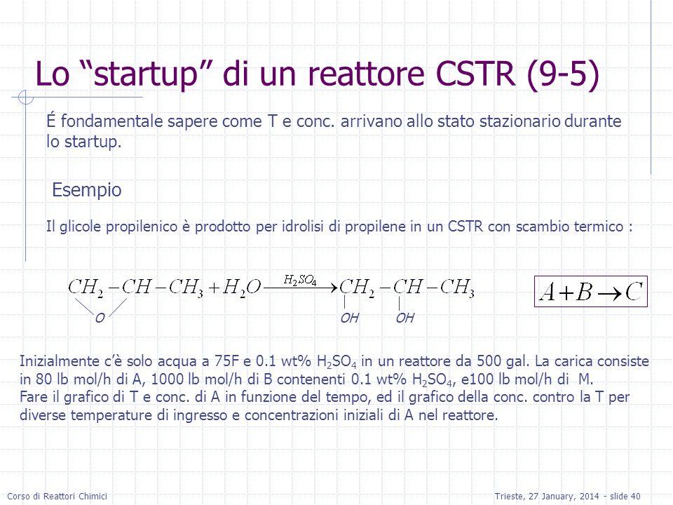 Corso di Reattori ChimiciTrieste, 27 January, 2014 - slide 40 É fondamentale sapere come T e conc. arrivano allo stato stazionario durante lo startup.