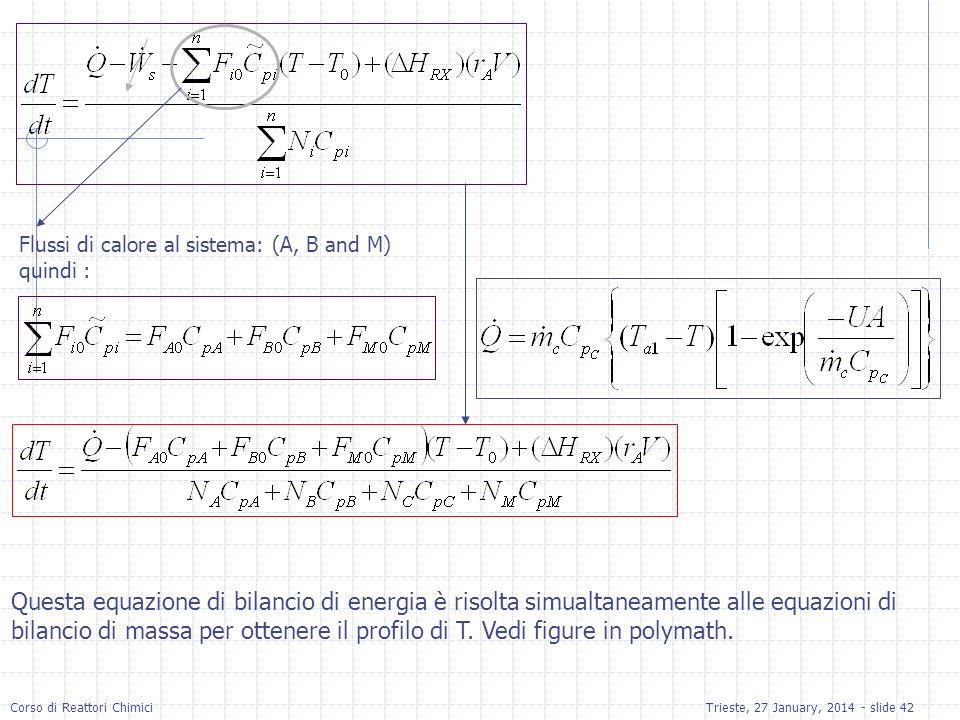 Corso di Reattori ChimiciTrieste, 27 January, 2014 - slide 42 Flussi di calore al sistema: (A, B and M) quindi : Questa equazione di bilancio di energia è risolta simualtaneamente alle equazioni di bilancio di massa per ottenere il profilo di T.