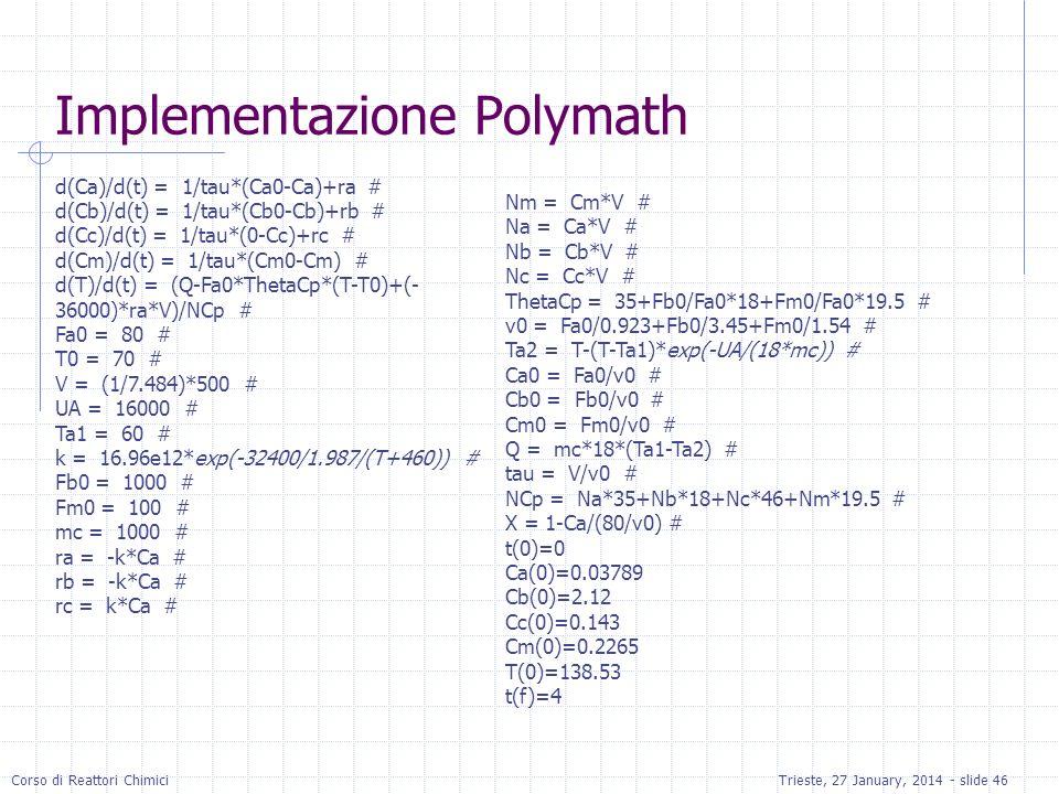 Corso di Reattori ChimiciTrieste, 27 January, 2014 - slide 46 Implementazione Polymath d(Ca)/d(t) = 1/tau*(Ca0-Ca)+ra # d(Cb)/d(t) = 1/tau*(Cb0-Cb)+rb