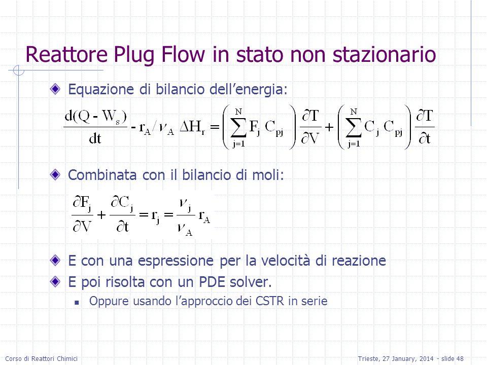 Corso di Reattori ChimiciTrieste, 27 January, 2014 - slide 48 Reattore Plug Flow in stato non stazionario Equazione di bilancio dellenergia: Combinata con il bilancio di moli: E con una espressione per la velocità di reazione E poi risolta con un PDE solver.