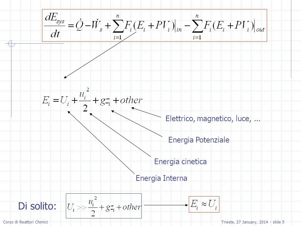 Corso di Reattori ChimiciTrieste, 27 January, 2014 - slide 5 Energia Interna Energia cinetica Energia Potenziale Elettrico, magnetico, luce,... Di sol