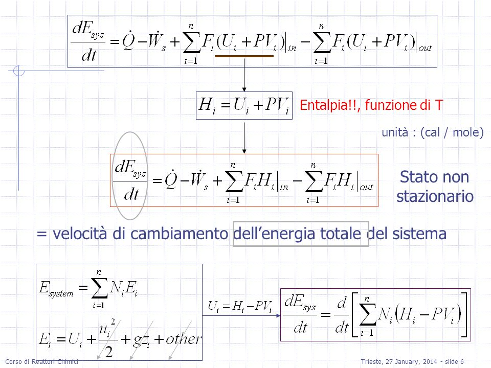 Corso di Reattori ChimiciTrieste, 27 January, 2014 - slide 6 Entalpia!!, funzione di T unità : (cal / mole) Stato non stazionario = velocità di cambiamento dellenergia totale del sistema