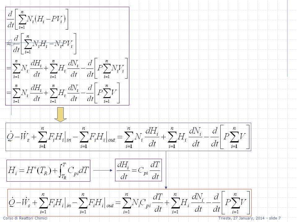 Corso di Reattori ChimiciTrieste, 27 January, 2014 - slide 38 d(Ca)/d(t) = ra-(v0*Ca)/V # d(Cb)/d(t) = rb+(v0*(Cb0-Cb)/V) # d(Cc)/d(t) = rc-(Cc*v0)/V # d(T)/d(t) = (Qr-Fb0*cp*(1+55)*(T- T0)+ra*V*dh)/NCp # d(Nw)/d(t) = v0*Cw0 # v0 = 0.004 # Cb0 = 1 # UA = 3000 # Ta = 290 # cp = 75240 # T0 = 300 # dh = -7.9076e7 # Cw0 = 55 # k = 0.39175*exp(5472.7*((1/273)-(1/T))) # Cd = Cc # Vi = 0.2 # Kc = 10^(3885.44/T) # cpa = 170700 # V = Vi+v0*t # Fb0 = Cb0*v0 # ra = -k*((Ca*Cb)-((Cc*Cd)/Kc)) # Na = V*Ca # Nb = V*Cb # Nc = V*Cc # rb = ra # rc = -ra # Nd = V*Cd # rate = -ra # NCp = cp*(Nb+Nc+Nd+Nw)+cpa*Na # Cpc = 18 # Ta1 = 285 # mc = 100 # Qr = mc*Cpc*(Ta1-T)*(1-exp(-UA/mc/Cpc)) # Ta2 = T-(T-Ta1)*exp(-UA/mc/Cpc) # t(0)=0 Ca(0)=5 Cb(0)=0 Cc(0)=0 T(0)=300 Nw(0)=6.14 t(f)=360 Equazioni in Polymath