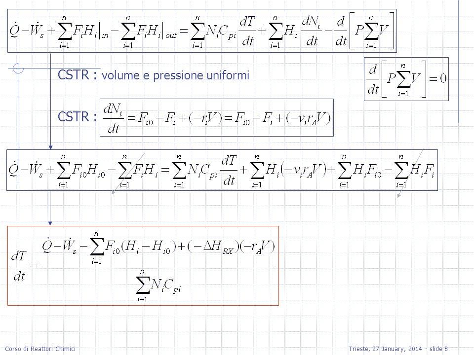 Corso di Reattori ChimiciTrieste, 27 January, 2014 - slide 9 No cambiamenti di fase Per fase liquida C ps e il calore specifico della soluzione Per fase liquida