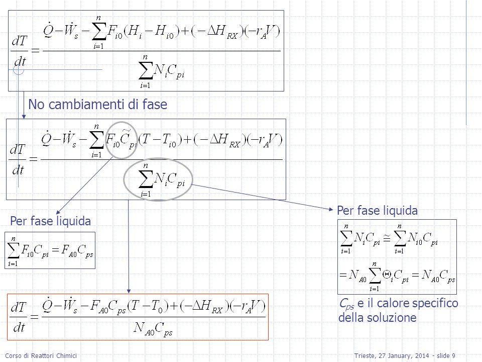 Corso di Reattori ChimiciTrieste, 27 January, 2014 - slide 10 Batch : volume, pressione, temperatura e concentrazione uniforme Batch : Equazione che va accoppiata con bilancio di moli leq.