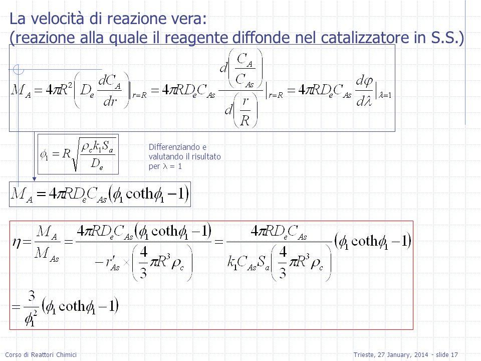 Corso di Reattori ChimiciTrieste, 27 January, 2014 - slide 17 La velocità di reazione vera: (reazione alla quale il reagente diffonde nel catalizzator