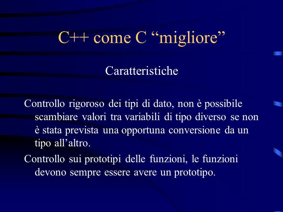 C++ come C migliore Caratteristiche Controllo rigoroso dei tipi di dato, non è possibile scambiare valori tra variabili di tipo diverso se non è stata