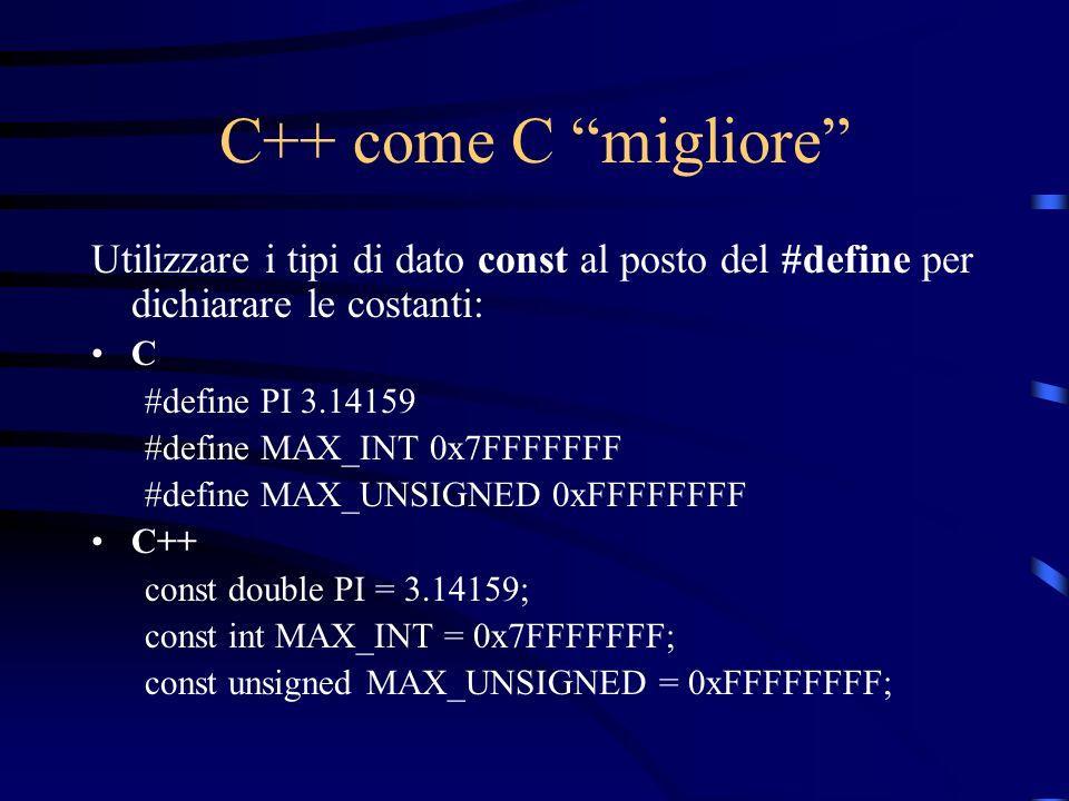 C++ come C migliore Utilizzare i tipi di dato const al posto del #define per dichiarare le costanti: C #define PI 3.14159 #define MAX_INT 0x7FFFFFFF #