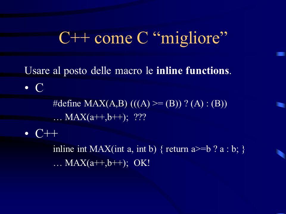 C++ come C migliore Usare al posto delle macro le inline functions. C #define MAX(A,B) (((A) >= (B)) ? (A) : (B)) … MAX(a++,b++); ??? C++ inline int M