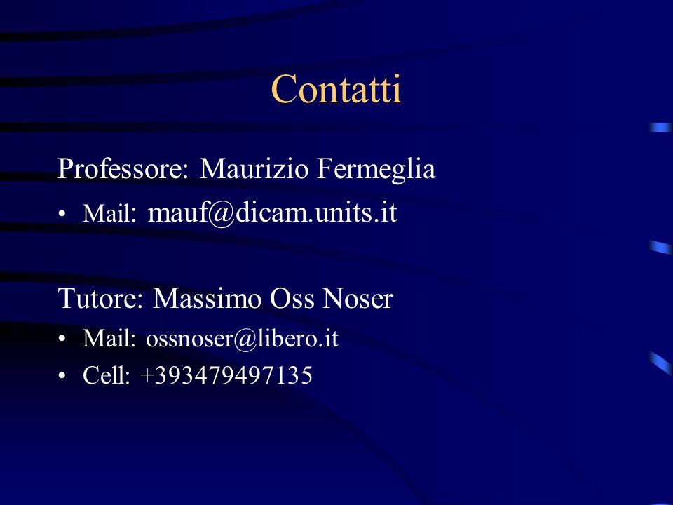 Contatti Professore: Maurizio Fermeglia Mail : mauf@dicam.units.it Tutore: Massimo Oss Noser Mail: ossnoser@libero.it Cell: +393479497135