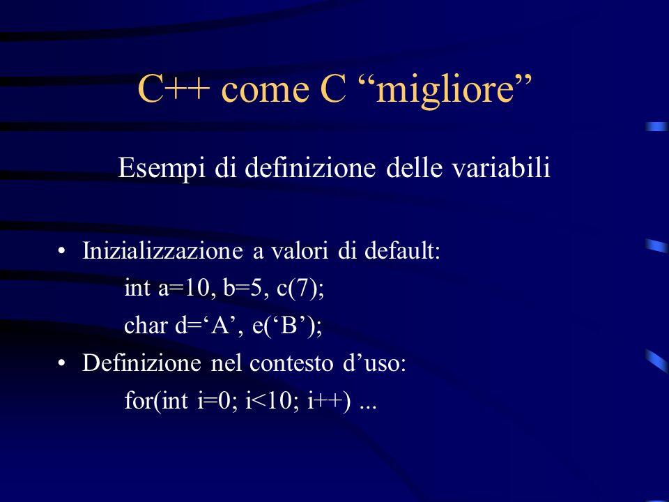 C++ come C migliore Esempi di definizione delle variabili Inizializzazione a valori di default: int a=10, b=5, c(7); char d=A, e(B); Definizione nel c