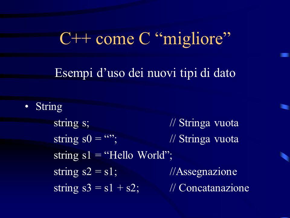 C++ come C migliore Esempi duso dei nuovi tipi di dato String string s;// Stringa vuota string s0 = ;// Stringa vuota string s1 = Hello World; string