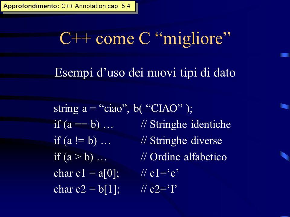 C++ come C migliore Esempi duso dei nuovi tipi di dato string a = ciao, b( CIAO ); if (a == b) …// Stringhe identiche if (a != b) …// Stringhe diverse
