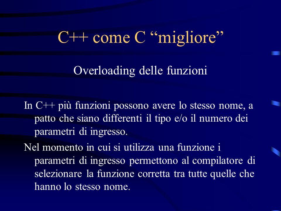 C++ come C migliore Overloading delle funzioni In C++ più funzioni possono avere lo stesso nome, a patto che siano differenti il tipo e/o il numero de