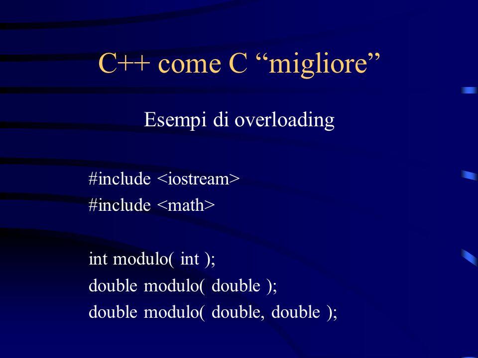 C++ come C migliore Esempi di overloading #include int modulo( int ); double modulo( double ); double modulo( double, double );