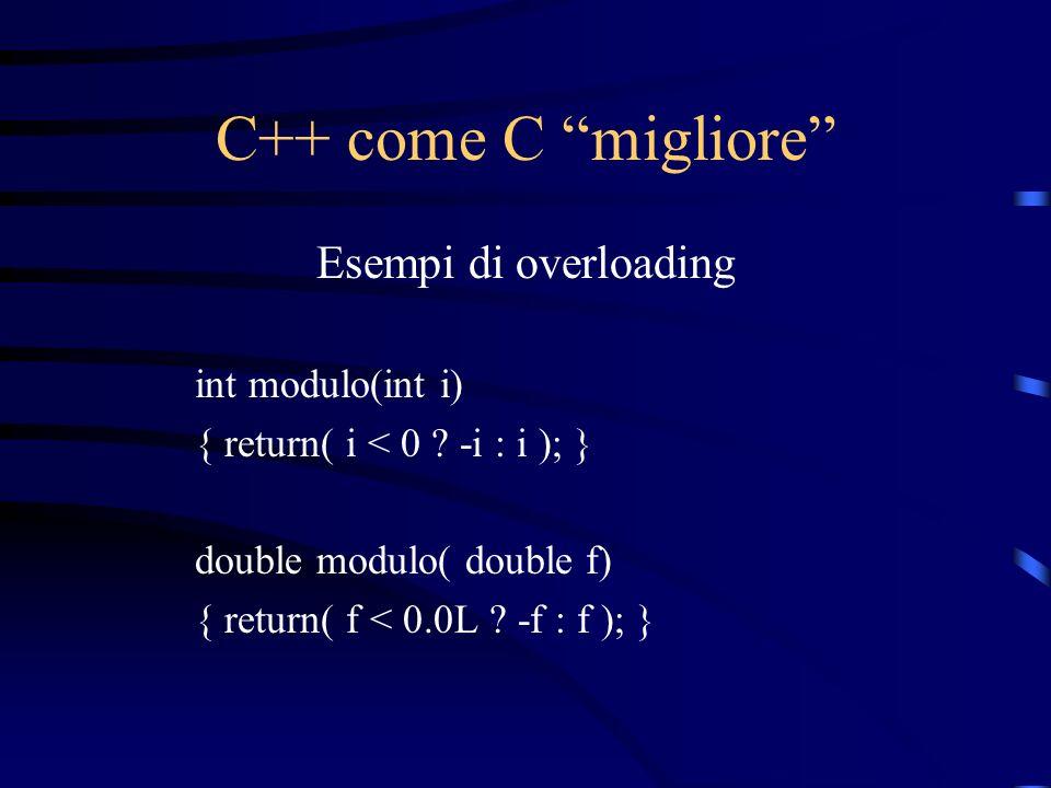 C++ come C migliore Esempi di overloading int modulo(int i) { return( i < 0 ? -i : i ); } double modulo( double f) { return( f < 0.0L ? -f : f ); }