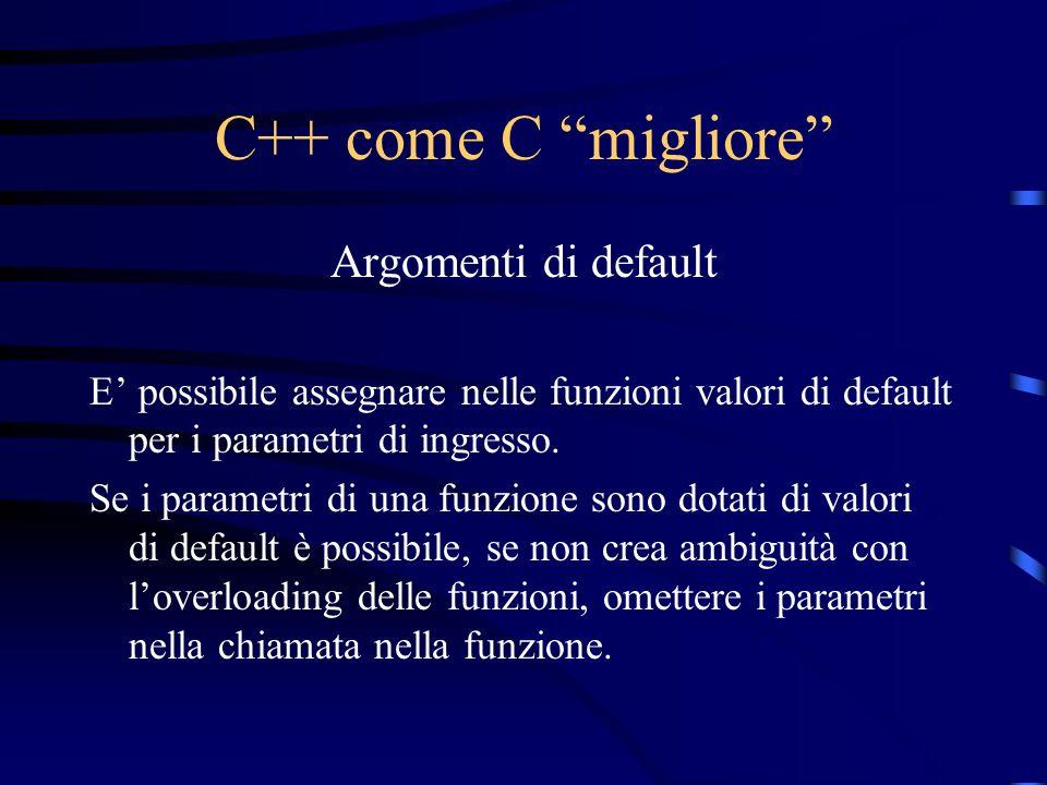 C++ come C migliore Argomenti di default E possibile assegnare nelle funzioni valori di default per i parametri di ingresso. Se i parametri di una fun