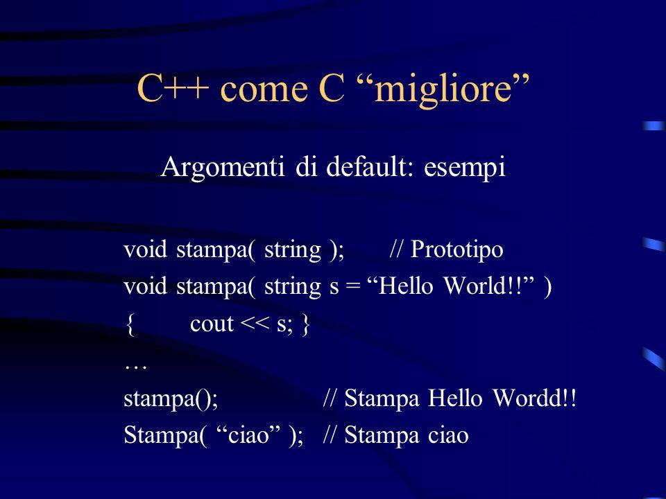 C++ come C migliore Argomenti di default: esempi void stampa( string );// Prototipo void stampa( string s = Hello World!! ) {cout << s; } … stampa();/