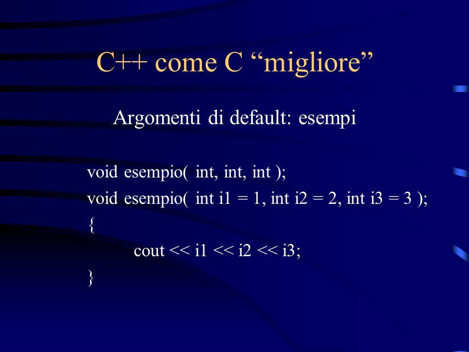 C++ come C migliore Argomenti di default: esempi void esempio( int, int, int ); void esempio( int i1 = 1, int i2 = 2, int i3 = 3 ); { cout << i1 << i2