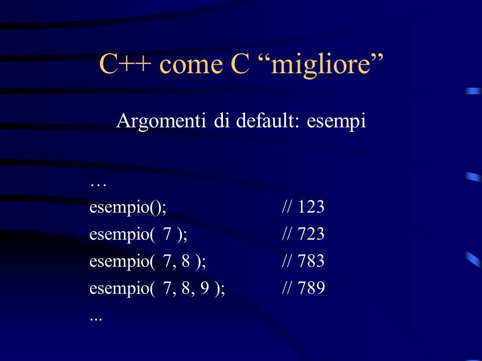 C++ come C migliore Argomenti di default: esempi … esempio();// 123 esempio( 7 );// 723 esempio( 7, 8 );// 783 esempio( 7, 8, 9 );// 789...