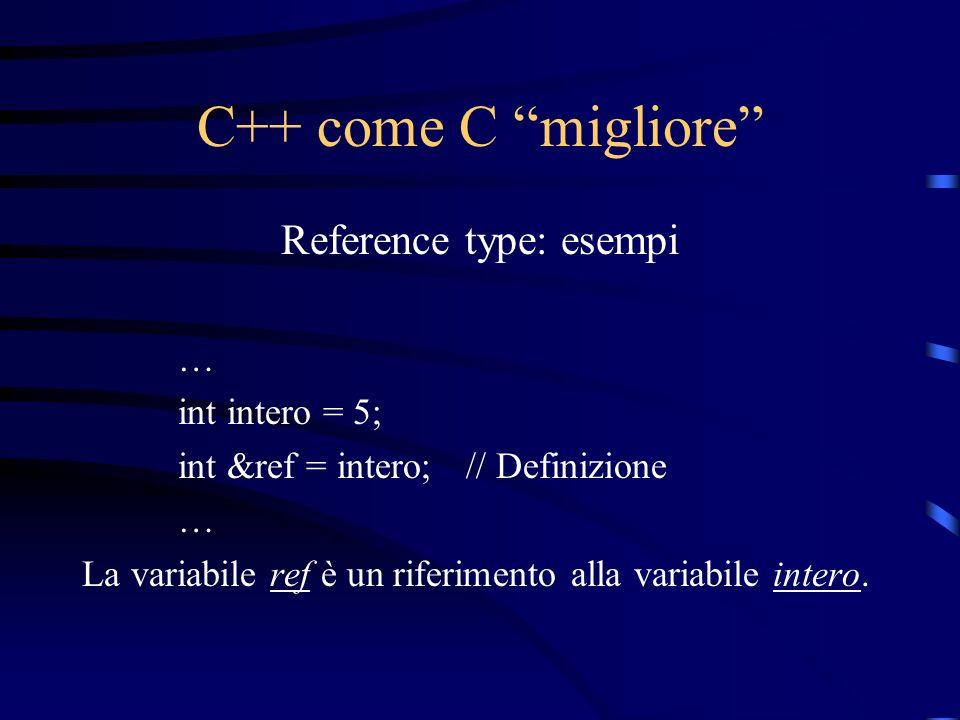 C++ come C migliore Reference type: esempi … int intero = 5; int &ref = intero;// Definizione … La variabile ref è un riferimento alla variabile inter