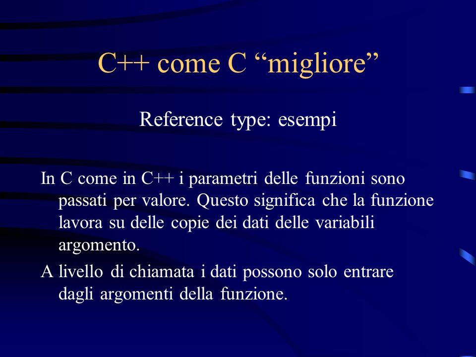 C++ come C migliore Reference type: esempi In C come in C++ i parametri delle funzioni sono passati per valore. Questo significa che la funzione lavor