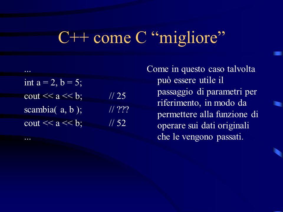 C++ come C migliore... int a = 2, b = 5; cout << a << b;// 25 scambia( a, b );// ??? cout << a << b;// 52... Come in questo caso talvolta può essere u