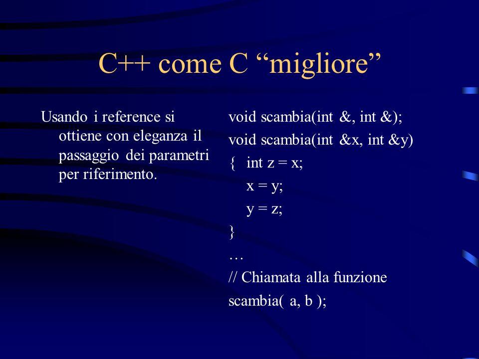 C++ come C migliore Usando i reference si ottiene con eleganza il passaggio dei parametri per riferimento. void scambia(int &, int &); void scambia(in