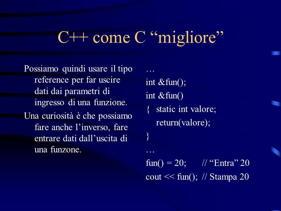 C++ come C migliore Possiamo quindi usare il tipo reference per far uscire dati dai parametri di ingresso di una funzione. Una curiosità è che possiam