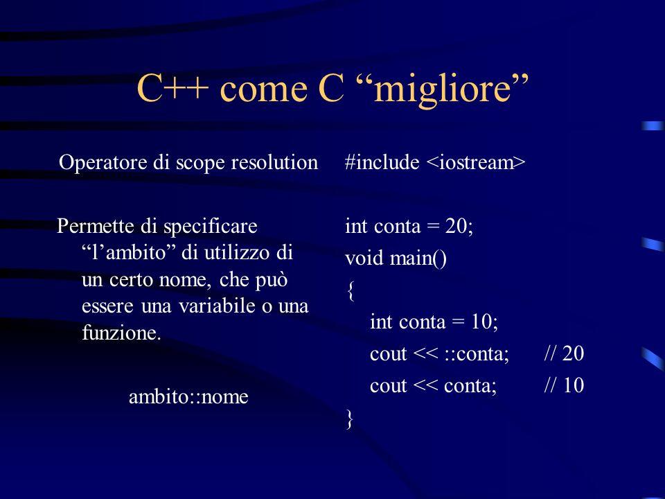 C++ come C migliore Operatore di scope resolution Permette di specificare lambito di utilizzo di un certo nome, che può essere una variabile o una fun