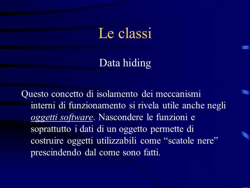 Le classi Data hiding Questo concetto di isolamento dei meccanismi interni di funzionamento si rivela utile anche negli oggetti software. Nascondere l