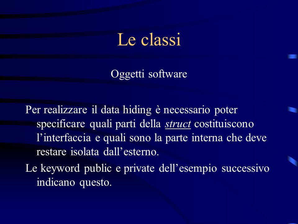Le classi Oggetti software Per realizzare il data hiding è necessario poter specificare quali parti della struct costituiscono linterfaccia e quali so