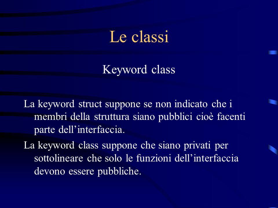 Le classi Keyword class La keyword struct suppone se non indicato che i membri della struttura siano pubblici cioè facenti parte dellinterfaccia. La k