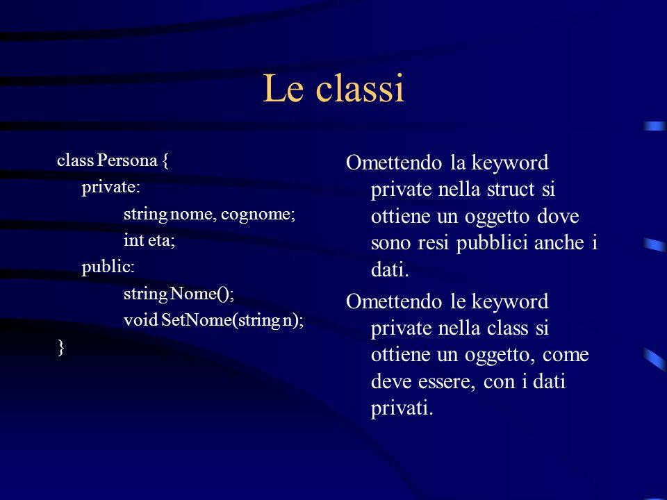 Le classi class Persona { private: string nome, cognome; int eta; public: string Nome(); void SetNome(string n); } Omettendo la keyword private nella