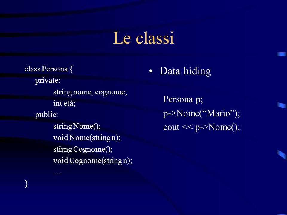 Le classi class Persona { private: string nome, cognome; int età; public: string Nome(); void Nome(string n); stirng Cognome(); void Cognome(string n)