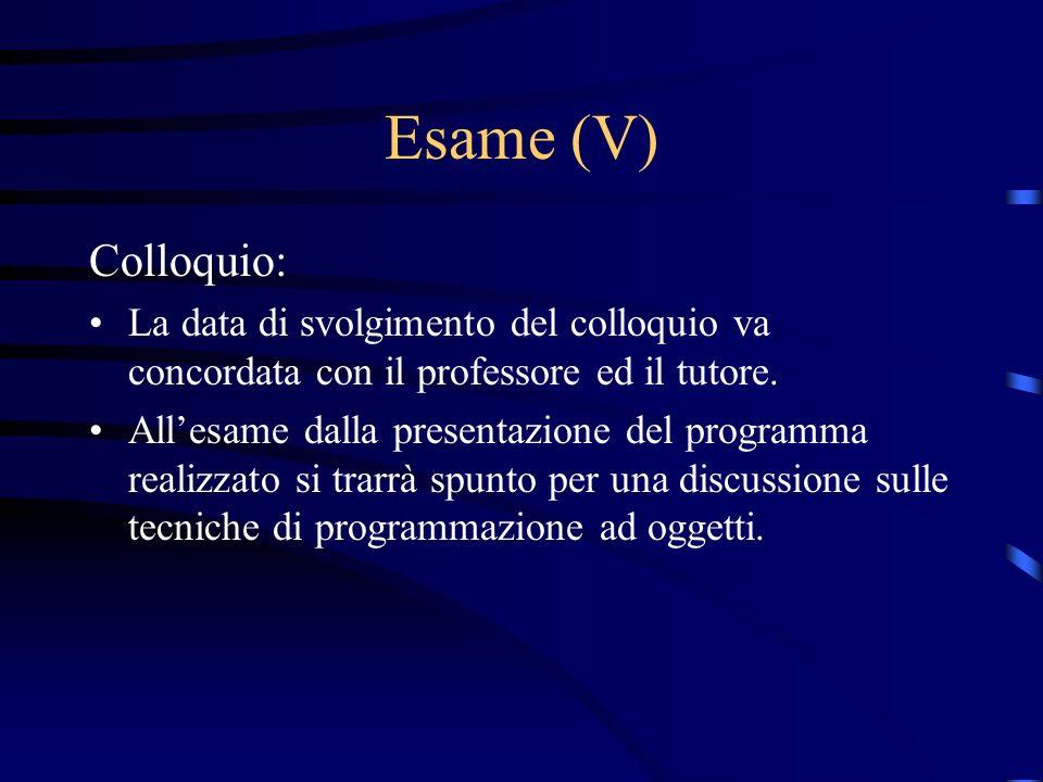 Esame (V) Colloquio: La data di svolgimento del colloquio va concordata con il professore ed il tutore. Allesame dalla presentazione del programma rea