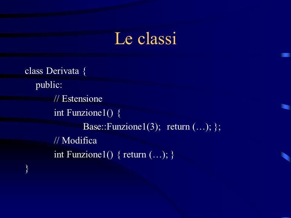 Le classi class Derivata { public: // Estensione int Funzione1() { Base::Funzione1(3); return (…); }; // Modifica int Funzione1() { return (…); } }