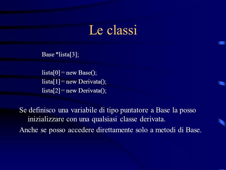 Le classi Base *lista[3]; lista[0] = new Base(); lista[1] = new Derivata(); lista[2] = new Derivata(); Se definisco una variabile di tipo puntatore a