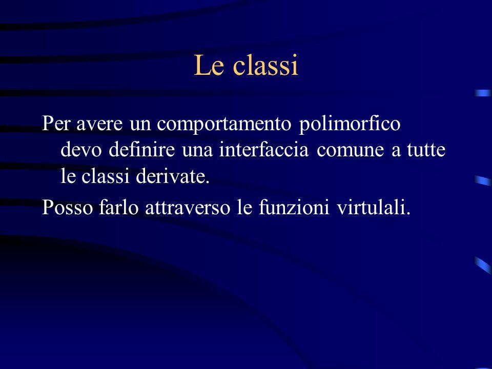 Le classi Per avere un comportamento polimorfico devo definire una interfaccia comune a tutte le classi derivate. Posso farlo attraverso le funzioni v