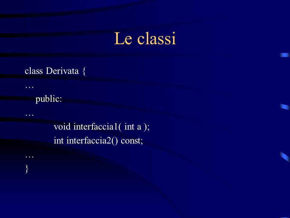 Le classi class Derivata { … public: … void interfaccia1( int a ); int interfaccia2() const; … }