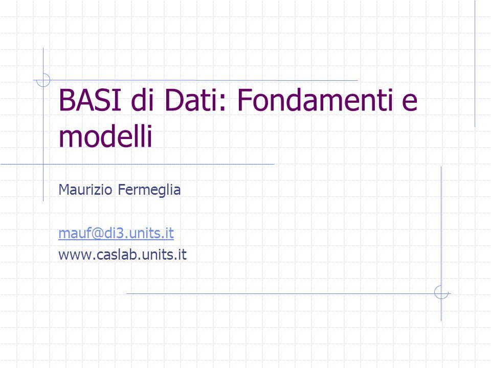 BASI di Dati: Fondamenti e modelli Maurizio Fermeglia mauf@di3.units.it www.caslab.units.it