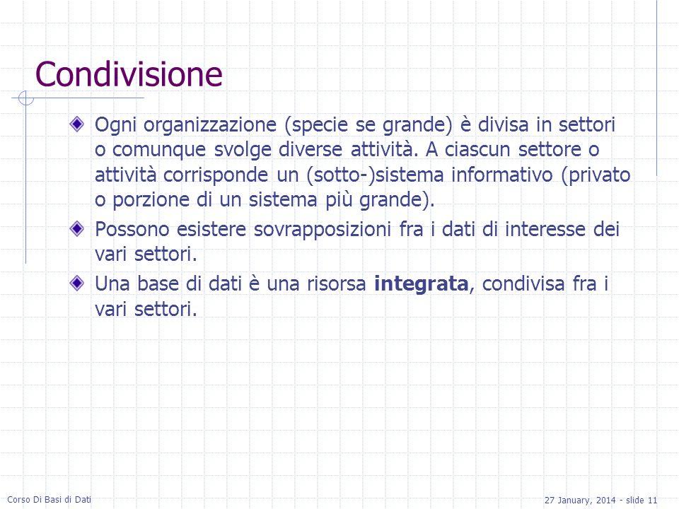 27 January, 2014 - slide 11 Corso Di Basi di Dati Condivisione Ogni organizzazione (specie se grande) è divisa in settori o comunque svolge diverse at