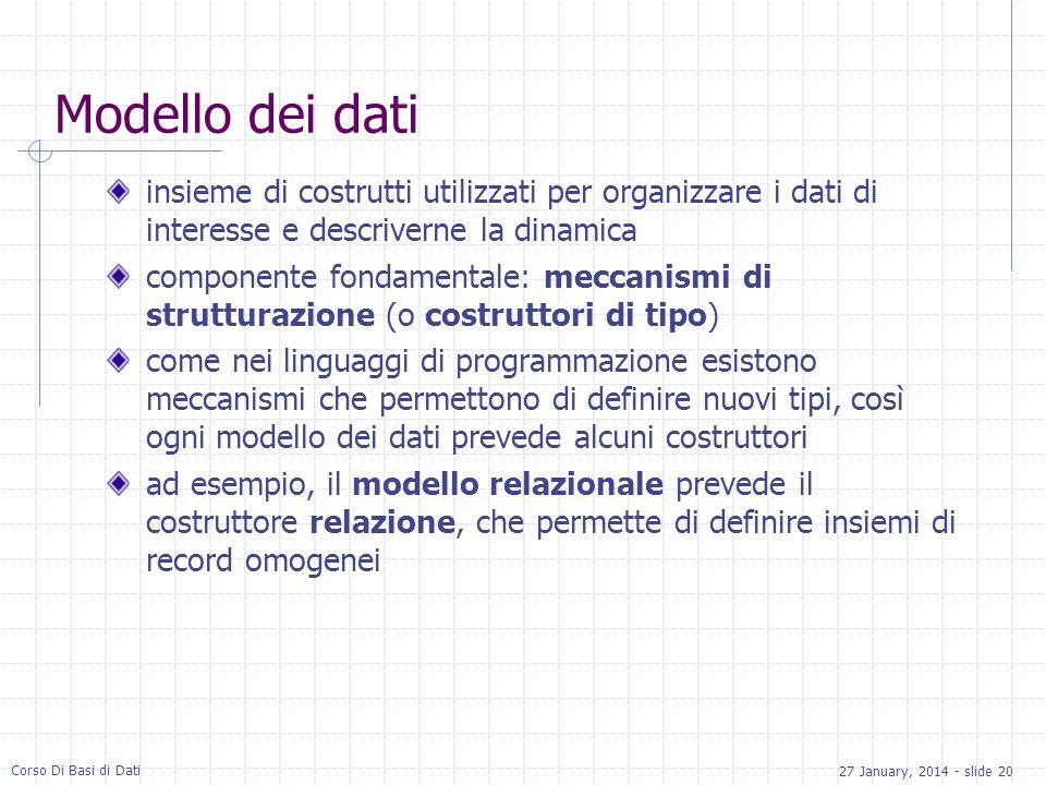 27 January, 2014 - slide 20 Corso Di Basi di Dati Modello dei dati insieme di costrutti utilizzati per organizzare i dati di interesse e descriverne l