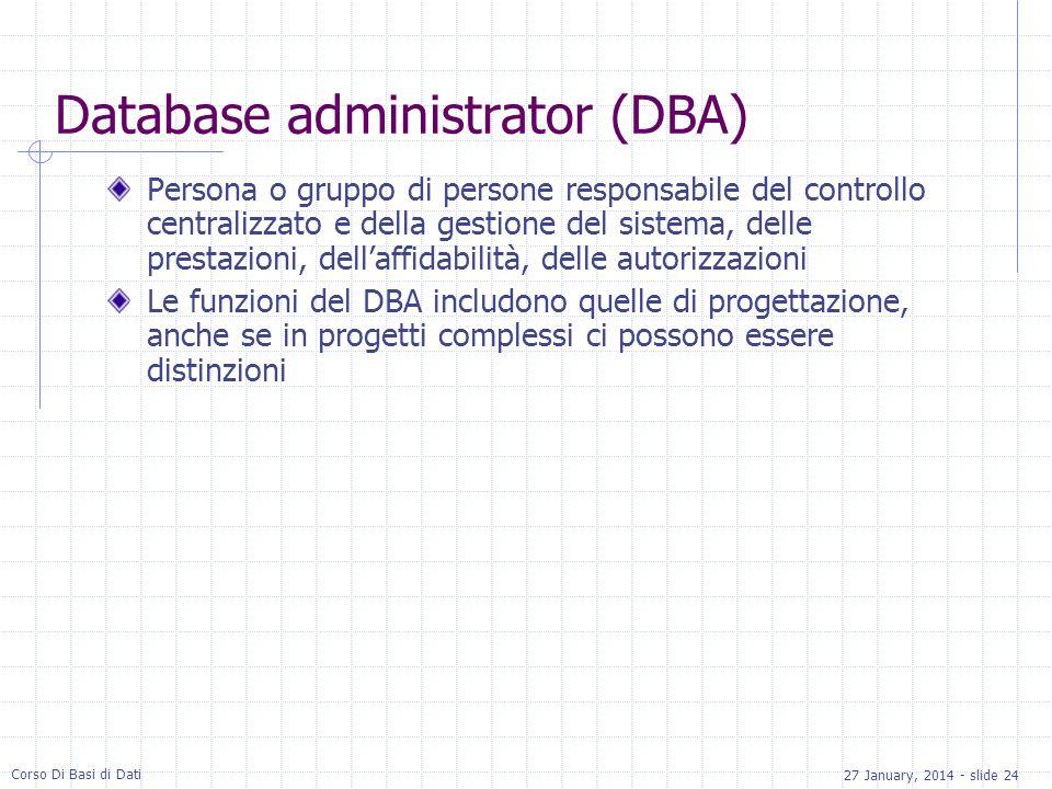 27 January, 2014 - slide 24 Corso Di Basi di Dati Database administrator (DBA) Persona o gruppo di persone responsabile del controllo centralizzato e della gestione del sistema, delle prestazioni, dellaffidabilità, delle autorizzazioni Le funzioni del DBA includono quelle di progettazione, anche se in progetti complessi ci possono essere distinzioni
