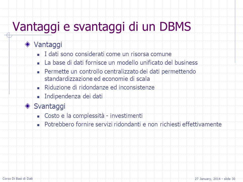 27 January, 2014 - slide 30 Corso Di Basi di Dati Vantaggi e svantaggi di un DBMS Vantaggi I dati sono considerati come un risorsa comune La base di d