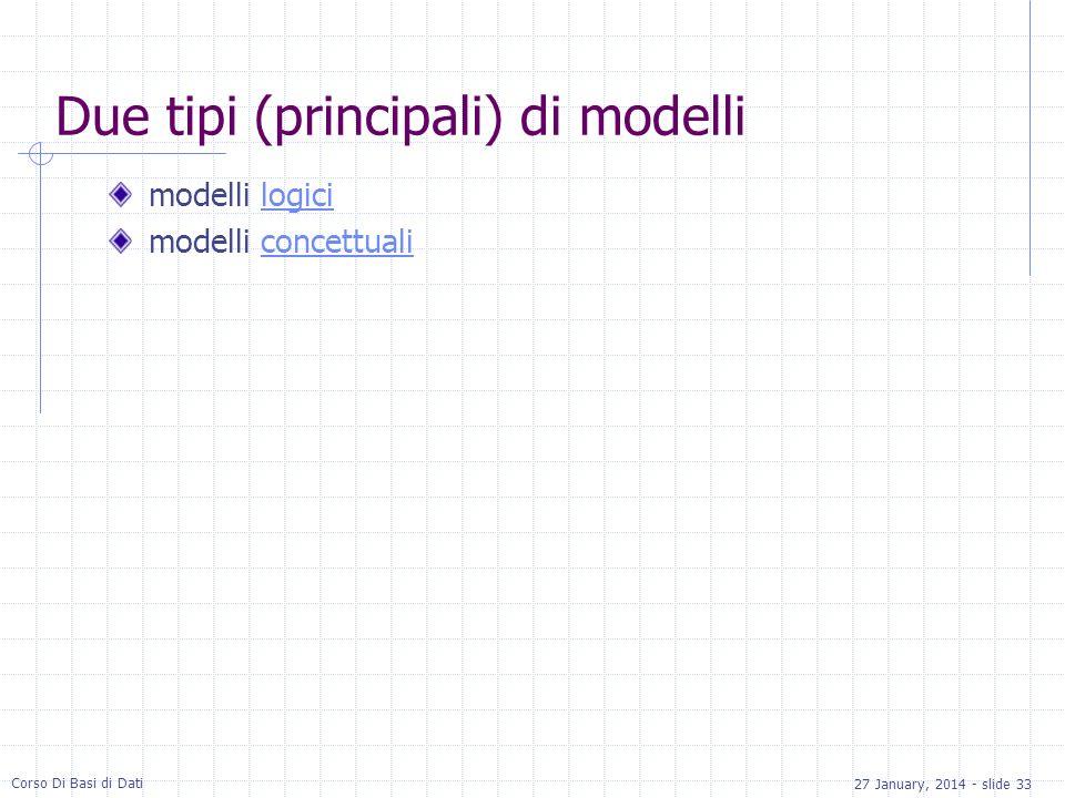 27 January, 2014 - slide 33 Corso Di Basi di Dati Due tipi (principali) di modelli modelli logicilogici modelli concettualiconcettuali
