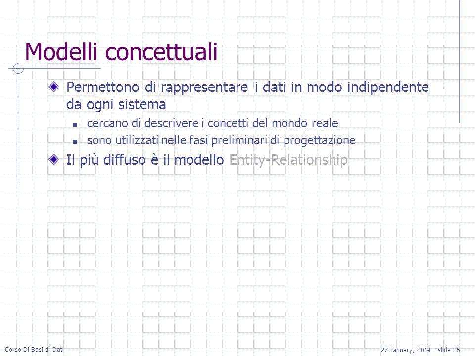 27 January, 2014 - slide 35 Corso Di Basi di Dati Modelli concettuali Permettono di rappresentare i dati in modo indipendente da ogni sistema cercano di descrivere i concetti del mondo reale sono utilizzati nelle fasi preliminari di progettazione Il più diffuso è il modello Entity-Relationship