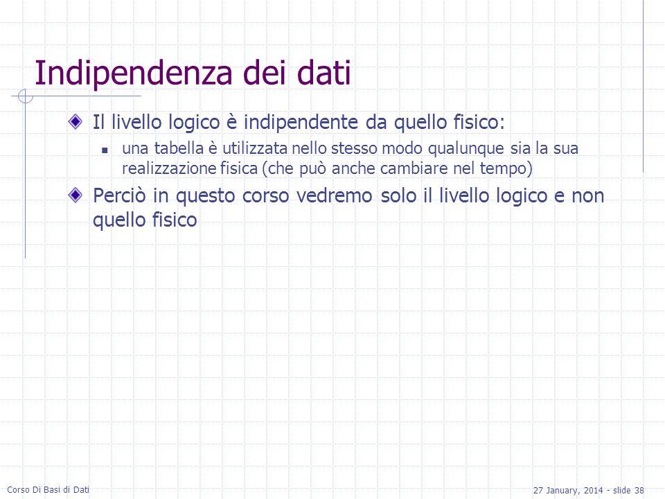 27 January, 2014 - slide 38 Corso Di Basi di Dati Indipendenza dei dati Il livello logico è indipendente da quello fisico: una tabella è utilizzata nello stesso modo qualunque sia la sua realizzazione fisica (che può anche cambiare nel tempo) Perciò in questo corso vedremo solo il livello logico e non quello fisico