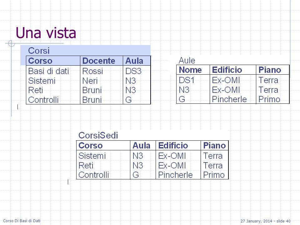 27 January, 2014 - slide 40 Corso Di Basi di Dati Una vista